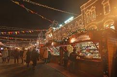Mercato del nuovo anno di Natale vicino al grande magazzino della GOMMA, quadrato rosso, Mosca Fotografia Stock Libera da Diritti