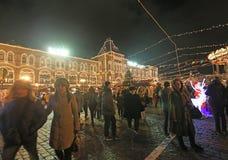 Mercato del nuovo anno di Natale vicino al grande magazzino della GOMMA, quadrato rosso, Mosca Fotografia Stock