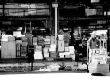 Mercato del pesce Tokyo. Man in the fish market of Tokyo Royalty Free Stock Photography