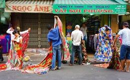 Mercato del tessuto dell'Asia Fotografia Stock Libera da Diritti