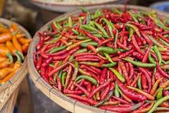 Mercato dell'alimento con i peperoni di peperoncino rosso freschi Immagini Stock