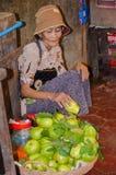Mercato dell'alimento di Siem Reap, Cambogia 5 settembre 2015 Fotografie Stock Libere da Diritti