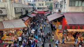Mercato dell'alimento vicino alla baia della strada soprelevata di Hong Kong fotografia stock libera da diritti