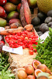 mercato della città con i frutti esotici Fotografia Stock Libera da Diritti