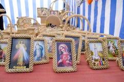 Mercato della struttura dell'icona dell'immagine di maria Gesù di religione Immagini Stock Libere da Diritti