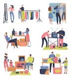 Mercato delle pulci La gente che compera vendendo il retro bazar di raduno di scambio dei vestiti delle merci della seconda mano  illustrazione di stock