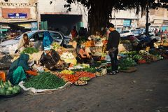 Mercato di alba a Delhi Fotografia Stock Libera da Diritti