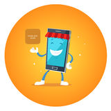 Mercato di app del carattere del telefono Fotografie Stock Libere da Diritti