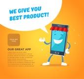 Mercato di app del carattere del telefono Concetti per il web Fotografia Stock