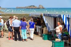 Mercato di Cancale che vende le ostriche Fotografia Stock