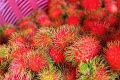 Mercato di frutta del Rambutan in Tailandia Immagini Stock Libere da Diritti