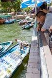 Mercato di galleggiamento dei frutti di mare in Sai Kung, Hong Kong immagine stock libera da diritti
