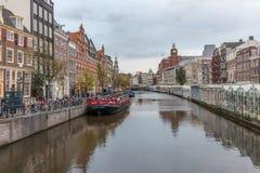 Mercato di galleggiamento del fiore a Amsterdam Fotografie Stock Libere da Diritti