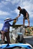 Mercato di galleggiamento di delta del Mekong, Vietnam Immagine Stock Libera da Diritti