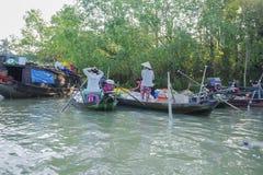 Mercato di galleggiamento di Phung Hiep alla baia di Nga delle strade trasversali di sette-modi, Hau Giang Fotografie Stock