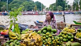 Mercato di galleggiamento di Martapura Immagini Stock Libere da Diritti