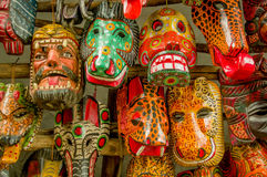 Mercato di legno maya del Guatemala delle maschere Fotografia Stock
