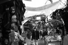 Mercato di Marrakesh in B & in W Fotografie Stock Libere da Diritti