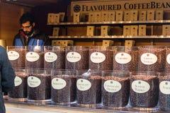 Mercato di Natale della cattedrale di Exeter - stalla di caffè di Meyart B Fotografie Stock