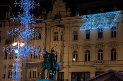 Mercato di Natale di Zagabria Fotografia Stock