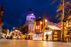 Mercato di Natale nel vecchio quadrato del mercato, Nottingham immagine stock libera da diritti