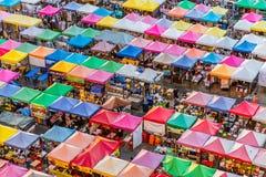 Mercato di notte del treno - Bangkok, Tailandia Fotografia Stock
