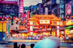 Mercato di notte della via di Raohe, Taipei - Taiwan Fotografia Stock