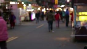 Mercato di notte di TAIWAN nel distretto di Yonghe, defocused video d archivio