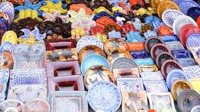 Mercato di strada ceramico di mostra di Sidi Bou Said Fotografia Stock Libera da Diritti