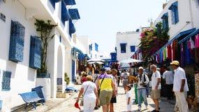 Mercato di strada e la gente in Sidi Bou Said Fotografie Stock