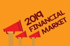 Mercato finanziario 2019 del testo di scrittura di parola Il concetto di affari per il posto in cui commercio delle azioni ordina illustrazione vettoriale