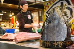Mercato ittico di Kuroshio, Wakayama, Kansai, Giappone fotografia stock