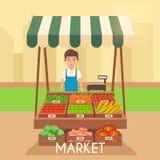 Mercato locale della stalla Vendita delle verdure Illustrazione piana di vettore Immagine Stock