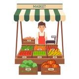 Mercato locale della stalla Vendita delle verdure Illustrazione piana di vettore Immagini Stock