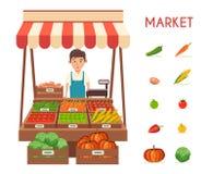Mercato locale della stalla Vendita delle verdure Illustrazione piana di vettore Immagine Stock Libera da Diritti