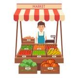 Mercato locale della stalla Vendita delle verdure Illustrazione piana di vettore Fotografia Stock