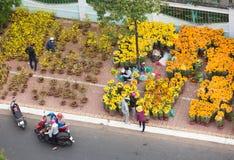 Mercato nel Vietnam, vista superiore del fiore di Tet Immagini Stock Libere da Diritti