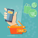 Mercato online di web del deposito dell'uomo di acquisto dello Smart Phone mobile della tenuta illustrazione di stock
