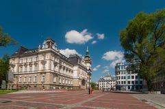 Mercato prima municipio in Bielsko-Biala Plac Ratuszowy, Polonia Fotografia Stock