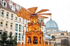 Mercato Striezelmarkt di Natale Dresda, Germania Celebrazione del Natale in Europa Immagine Stock Libera da Diritti