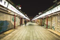 Mercato vuoto di Asakusa, vista di notte del mercato di Asakusa Immagini Stock Libere da Diritti