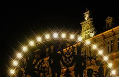 Mercato Zwickau di Natale di Schwibbogen alla notte Fotografia Stock Libera da Diritti
