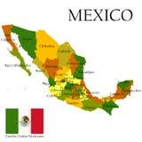 Mercator-Karte von Mexiko und von Markierungsfahne Lizenzfreie Stockbilder
