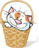 Merce nel carrello bianca del gattino - illustrazione di vettore royalty illustrazione gratis