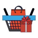 Merce nel carrello del contenitore di regalo e di sacchetto della spesa royalty illustrazione gratis