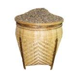 Merce nel carrello del grano del riso isolata su fondo bianco Fotografia Stock