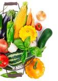 Merce nel carrello del raccolto degli ortaggi freschi con le foglie verdi immagine stock libera da diritti