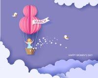 Merce nel carrello della donna della mongolfiera royalty illustrazione gratis
