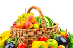 Merce nel carrello della frutta e della verdura della raccolta Immagini Stock