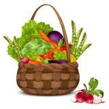 Merce nel carrello delle verdure illustrazione di stock